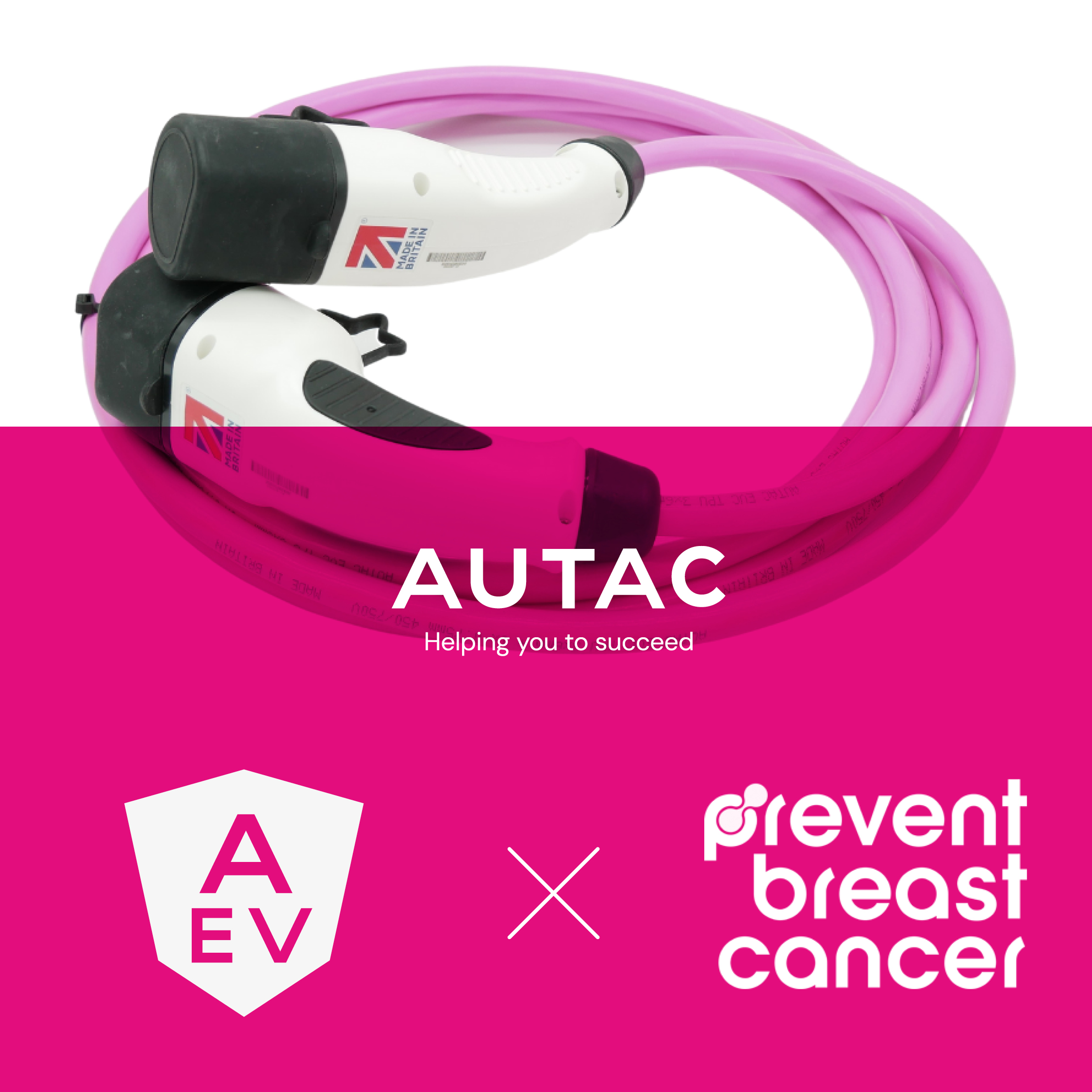 We're tickled pink that Autac's new EV cable is supporting breast cancer prevention.